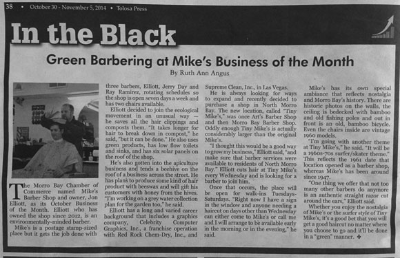 The Bay News news article about Mike's Barber Shop, Morro Bay