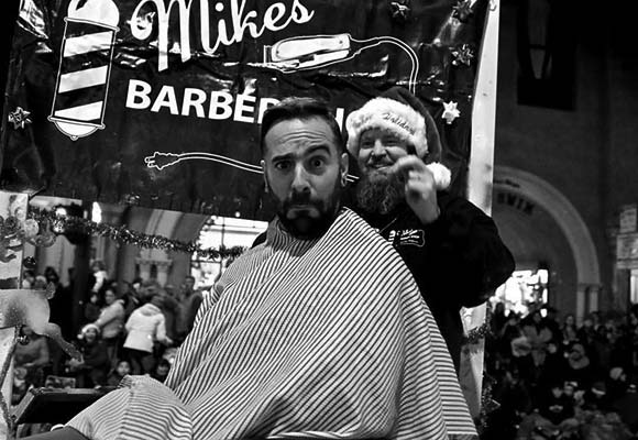 Mike's Barber Shop in the San Luis Obispo Christmas parade