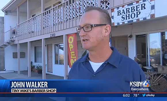 Water Emergency in Morro Bay is fixed outside Tiny Mike's Barber Shop. KSBY is on the scene